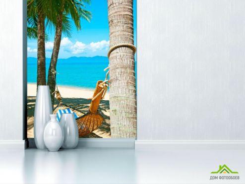 обои Пляж Фотообои Гамак и пальмы