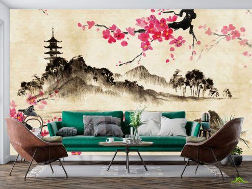Восточный стиль Фотообои Акварельные горы и сакура