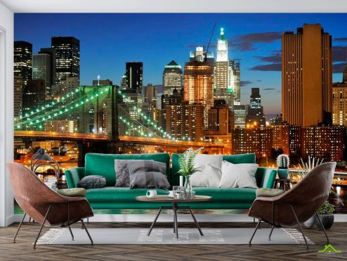Нью Йорк Фотообои Мост ночной New York