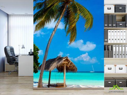 обои Пляж Фотообои Пальмы и беседка