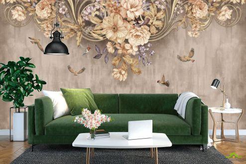 Фотообои Цветы по выгодной цене Фотообои Коричневые цветы под потолком