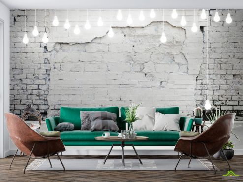 лофт Фотообои Белая стена с лампочками