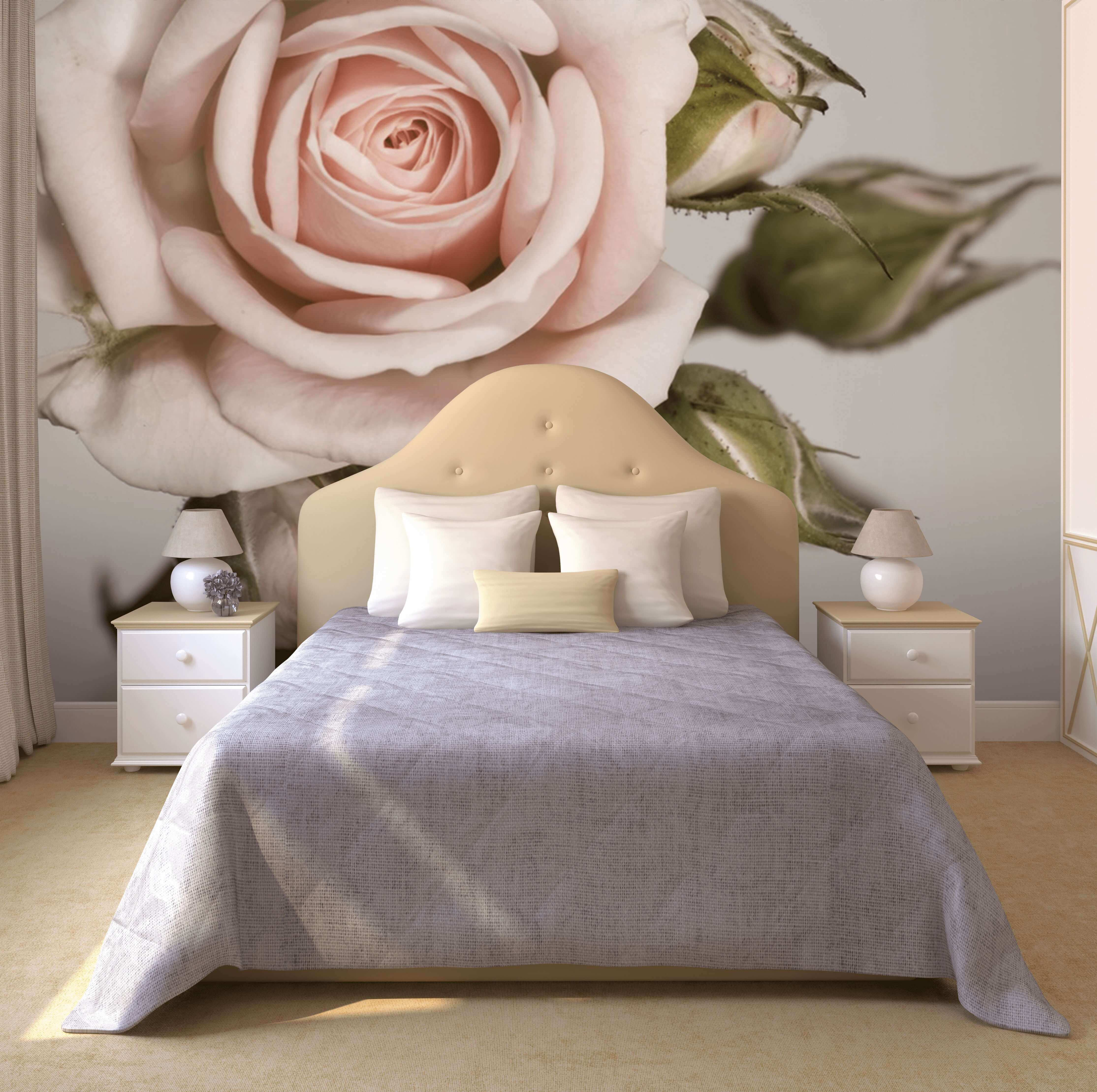 фотообои над кроватью цветы этом принципе построен
