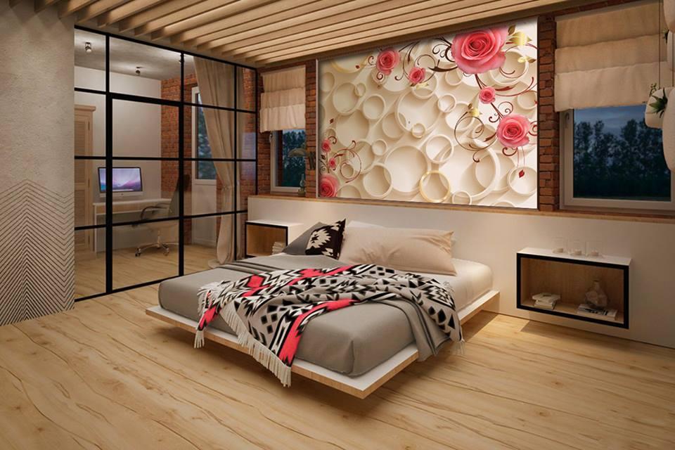 3Д обои в интерьере спальни