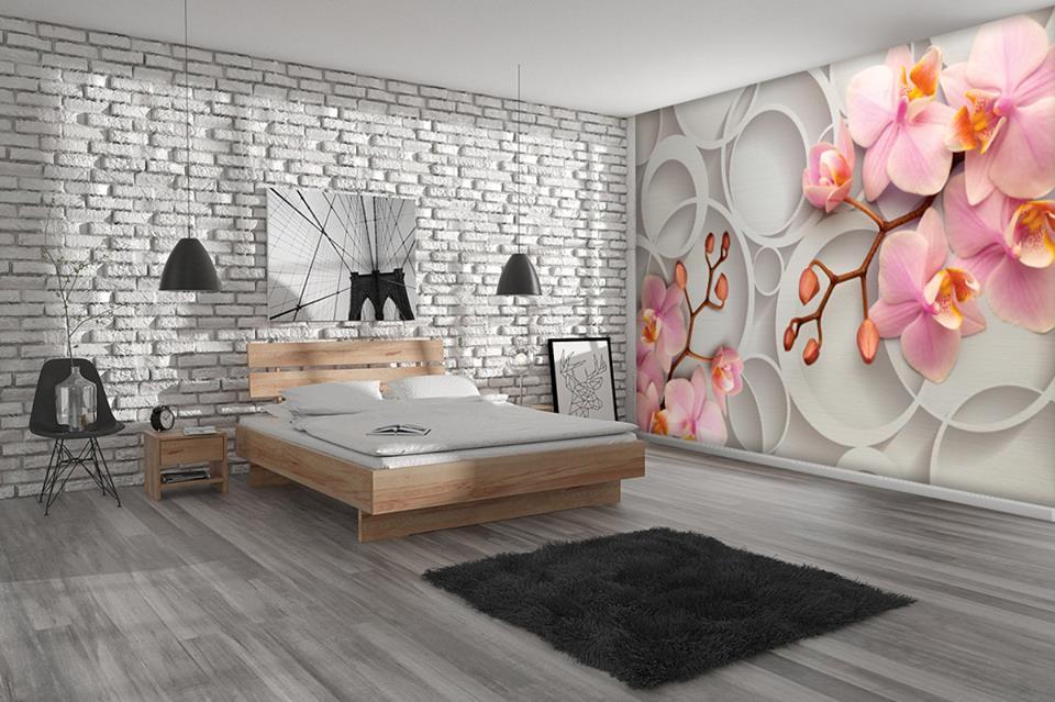 3Д обои сакура в спальне